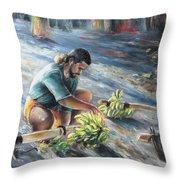 Tahitian Banana Carryer Throw Pillow