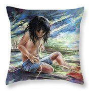 Tahitian Boy With Knife Throw Pillow