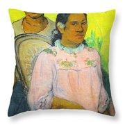 Tahitian Woman And Boy Throw Pillow