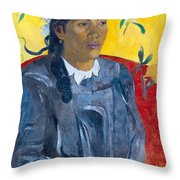 Tahitian Woman With A Flower Throw Pillow