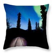 Taiga Tent Illuminated Under Northern Lights Flare Throw Pillow
