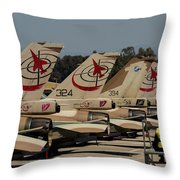 Tail Fins Of Israeli Air Force F-16`s Throw Pillow