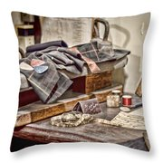 Tailors Work Bench Throw Pillow