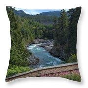 Train Tracks By The Cheakamus River Throw Pillow
