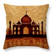 Taj Mahal Lovers Dream Original Coffee Painting Throw Pillow