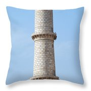 Taj Mahal Minaret Detail Throw Pillow