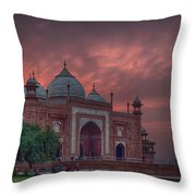 Taj Mahal Mosque At Sunset Throw Pillow