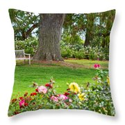 Take A Seat - Beautiful Rose Garden Of The Huntington Library. Throw Pillow