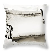 Take A Seat  And Chill Out - Park Bench - Winter - Snow Storm Bw 2 Throw Pillow