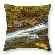 Take Me To The Other Side Beaver's Bend Broken Bow Lake Flowing River Fall Foliage Throw Pillow