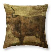 Take The Cow By The Horns Throw Pillow