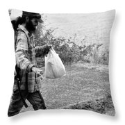 Taking My Pet For A Walk Throw Pillow