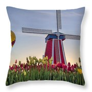 Taking Off At Tulip Field Throw Pillow