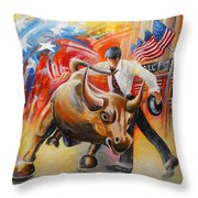 Taking On The Wall Street Bull Throw Pillow