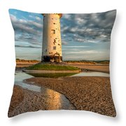 Talacre Lighthouse Sunset Throw Pillow