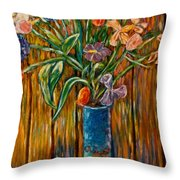Tall Blue Vase Throw Pillow