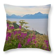 Tall Fireweed And Cow Parsnip Over Cook Inlet Near Homer- Ak Throw Pillow