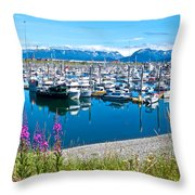 Tall Fireweed By The Marina Along Homer Spit-ak  Throw Pillow