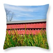 Tall Grass And Sachs Covered Bridge Throw Pillow