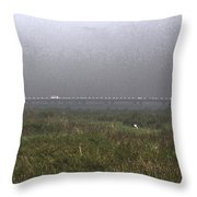 Tall Grass And View Of Bridge Throw Pillow