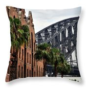 Tall Palms Before Beautiful Architecture Throw Pillow