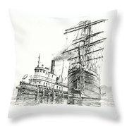 Tall Ship Assist Throw Pillow