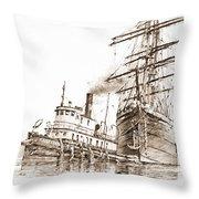 Tall Ship Assist Sepia Throw Pillow