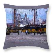 Tall Ship At Albert Dock Throw Pillow