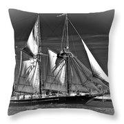 Tall Ship Bw Throw Pillow