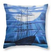 Tall Ship By Moonlight Throw Pillow