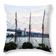 Tall Ship Gazela At Penns Landing Throw Pillow by Bill Cannon