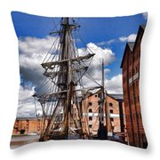 Tall Ship In Gloucester Docks Throw Pillow