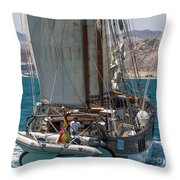 Tall Ship Isla Ebusitania  Throw Pillow