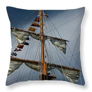 Tall Ship Mast Throw Pillow by Suzanne Gaff