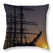 Tall Ship Silhouetted Throw Pillow