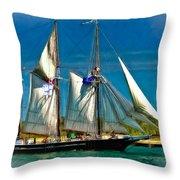 Tall Ship Vignette Throw Pillow by Steve Harrington
