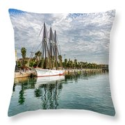 Tall Ships And Palm Trees - Impressions Of Barcelona Throw Pillow