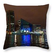Tall Ships At Night Pano 2 Throw Pillow