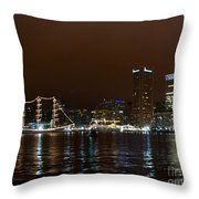 Tall Ships At Night Panorama Set Panel 1 Throw Pillow