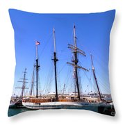 Tall Ships Big Bay Throw Pillow