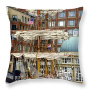 Tall Ships In Boston Throw Pillow