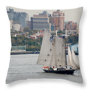 Tall Ships In The Harbor Throw Pillow