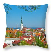 Tallinn From Plaza In Upper Old Town-estonia Throw Pillow