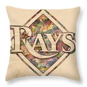 Tampa Bay Rays Vintage Art Throw Pillow