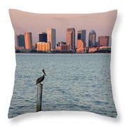 Tampa Skyline And Pelican Throw Pillow