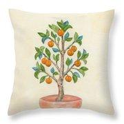 Tangerine Tree Throw Pillow