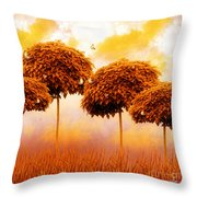 Tangerine Trees And Marmalade Skies Throw Pillow by Mo T