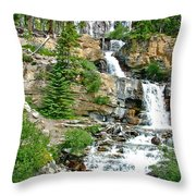 Tangle Falls Along Icefield Parkway In Alberta Throw Pillow