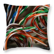 Tangle Of Colorful Wires Throw Pillow