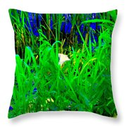 Tangled Garden On The Canal Canadian Art Montreal Landscapes Lachine Quebec Scenes Carole Spandau  Throw Pillow
